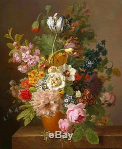 Dream-art Oil painting nice still life flowers in porcelain vase hand painted