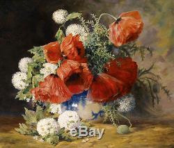 Dream-art Oil painting still life flowers Poppies in porcelain vase on canvas