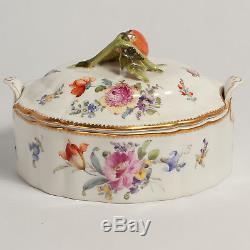 Dresden Fine Porcelain Hand Painted Serving Dish Crown / Shield