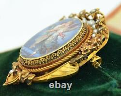Early Victorian 18K Hand Painted Porcelain, Diamonds & Pearls Pendant Brooch