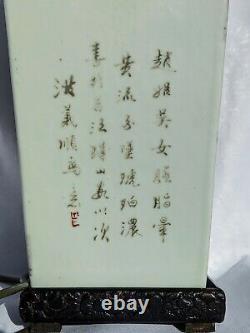 Elegant Chinese Antique Porcelain Vase Lamp Handpainted by Qing Dynasty Master