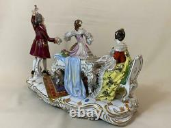 Excellent large hand painted Volkstedt Dresden Porcelain Musical Scene group
