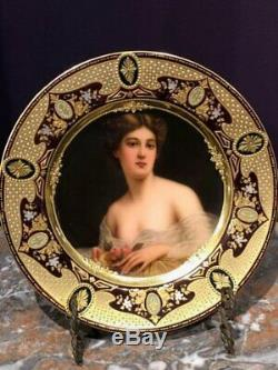 Exceptional Antique Hand Painted Jeweled Royal Vienna Porcelain Plate by Wagner