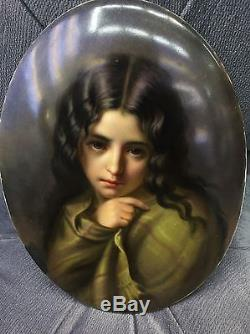 Exceptional Kpm Porcelain German Hand Painted Porcelain Plaque Lady Portrait