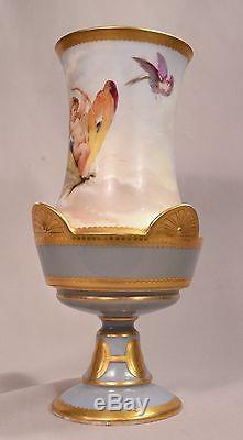 Exquisite Antique French Porcelain Vase Hand Painted with a Cherub & Butterflies