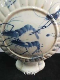 Exquisite Chinese Porcelain Shrimp Vases Hand-carving Marks GuangXu