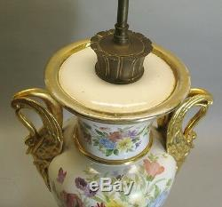 Fine 21 ANTIQUE FRENCH Hand-Painted OLD PARIS Vase as Lamp c. 1860 pottery