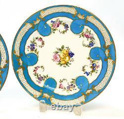 Fine Pair Sevres France Hand Painted Porcelain Cabinet Plates, 1790. Florals