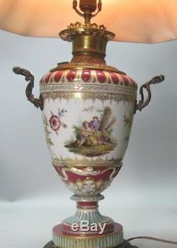 Fine & Rare SIGNED 19th C. KPM Hand Painted Porcelain Oil Lamp c. 1880 antique