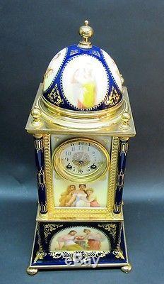 Finest Antique ROYAL VIENNA 18 Hand-Painted Porcelain & Gilt Bronze Clock