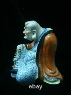Finest Chinese Old Hand Painting Porcelain Arhat Buddha Statue YouChangZi