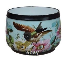 French Antique Hand Painted Bird & Flower Paris Porcelain Cache Pot Planter