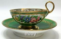 French Feuillet Hand Painted Porcelain Cup and Saucer c1930