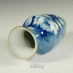 French Limoges Porcelain Vase Pallas Hand Painted Blue Roses Signed Jan