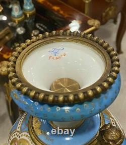 French Sevres Style Porcelain With Bronze Figure Girl Hands Painted Baby & Women
