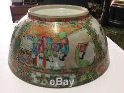 GOOD LARGE Qing 19TH C CHINESE PORCELAIN CANTON FAMILLE ROSE PUNCH BOWL 11