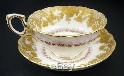 GORGEOUS Antique Hammersley Hand Painted Porcelain Roses Gold Tea Cup Saucer