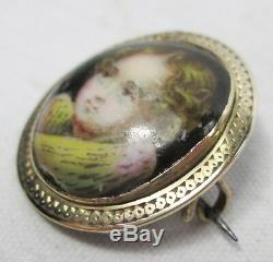 Georgian Antique Miniature Hand Painted Porcelain Child Portrait Gold Brooch Pin