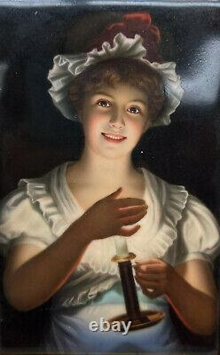 German Hand Painted Porcelain Plaque, Lisette after Georg Hom, circa 1900