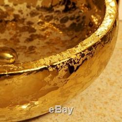 Gold Hand Painted Ceramic Porcelain Glazed Hotel Home Round Bathroom Sink