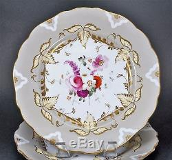 Gorgeous Rare Early English Hand Painted Porcelain Plate Plates Set Of Four