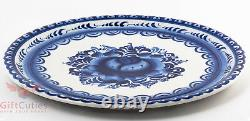 Gzhel Porcelain crepe pancake dish holder plate Hand-painted Auther Wrk