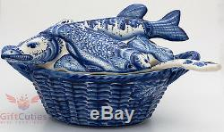 Gzhel Porcelain tureen soup bowl dish server cover in shape of fish hand painted