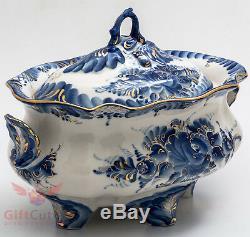 Gzhel Porcelain tureen soup bowl dish server hand painted