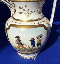 H & R Daniel Porcelain Hand Painted Harvest Ale Jug 7 3/4 C1825-35