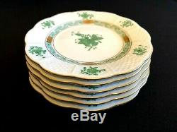 HEREND PORCELAIN HANDPAINTED CHINESE BOUQUET GREEN DESSERT PLATES 514/AV (6pcs.)
