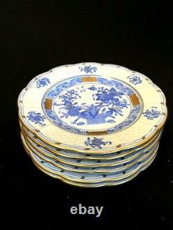 HEREND PORCELAIN HANDPAINTED INDIAN BASKET BLUE DESSERT PLATES 512/FB (6pcs.)
