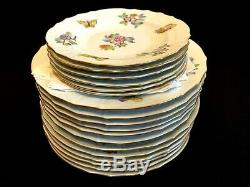 HEREND PORCELAIN HANDPAINTED QUEEN VICTORIA DINNER, DESSERT, SOUP PLATES(18pcs.)