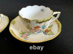 HEREND PORCELAIN HANDPAINTED QUEEN VICTORIA MOCHA CUP AND SAUCER (2pcs.)711/VBO