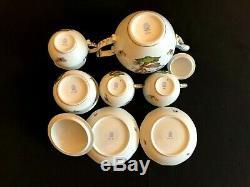 HEREND PORCELAIN HANDPAINTED ROTHSCHILD TEA SET FOR 2 PERSONS (9pcs.)
