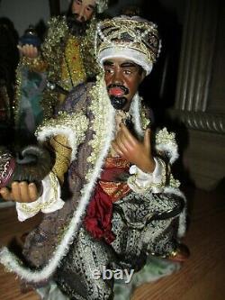 HUGE Nativity Set Hand-Painted Porcelain 16pc Members Mark NF0383 Beautiful Fab