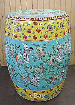 Hand Painted Flower & Bird Chinese Porcelain Garden Stool Seat