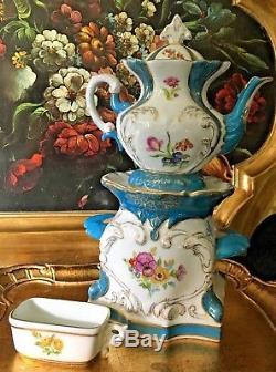 Hand Painted Limoges Porcelain Tisaniere Veilleuse Tea Pot OOAK