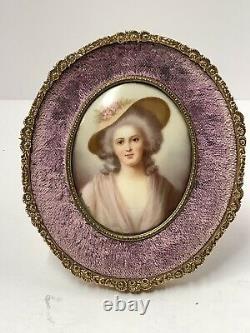 Handpainted Porcelain Plaque. Portrait Lady. Antique French Dore Bronze Frame