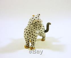 Herend, Black Fishnet Cat & Bird Friend 3, Handpainted Porcelain Figurine