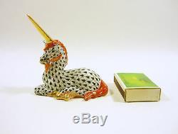 Herend, Black Fishnet (vhn) Fantasy Unicorn 3, Handpainted Porcelain Figurine