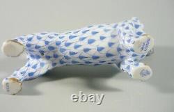 Herend, Blue Fishnet Vh Dachshund Dog 3, Handpainted Porcelain Figurine! (b009)