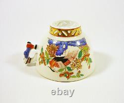 Herend, Chinese Kiang (kg) Cup & Sacuer, Mandarin Finial, Handpainted Porcelain