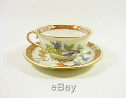 Herend, Chinese Oriental Shanghai (sh) Tea Cup & Saucer, Handpainted Porcelain