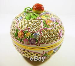Herend, Floral Open Work Reticulated Box Fruit Finial 6, Handpainted Porcelain