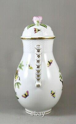 Herend Hand Painted Porcelain Rothschild Bird Ro Large Coffee Pot 611 Perfect