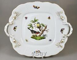 Herend Hand Painted Porcelain Rothschild Bird Ro Oblong Handled Cake Plate 430