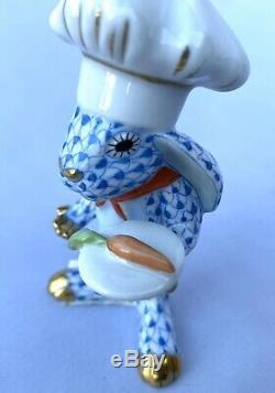 Herend Porcelain Hand Painted Blue Fishnet Chef Bunny Rabbit #2568