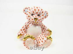 Herend Porcelain Hand Painted Teddy Rust Fishnet Baby Collection 15974 1270