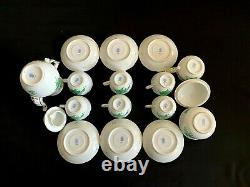 Herend Porcelain Handpainted Chinese Bouquet Green Mocha Set For 6 Person