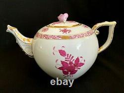Herend Porcelain Handpainted Chinese Bouquet Raspberry Large Tea Pot 601/ap